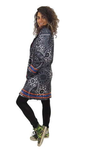 Colourful Printed Spiral Coat