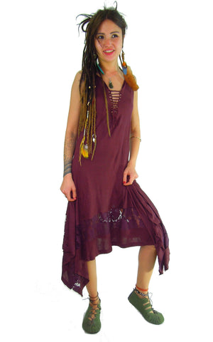 MAXI STEAMPUNK DRESS MAROON