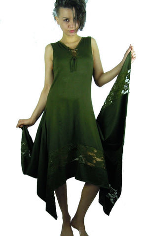 MAXI STEAMPUNK DRESS GREEN