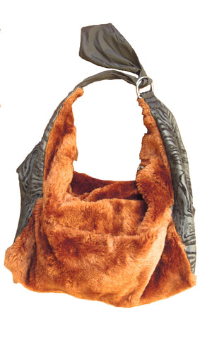 Fur sling shoulder bag