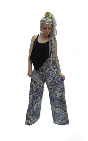 Wide  Flared Pants Aztec Print