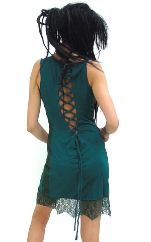 Short Woman's Corset Dress with lace hem