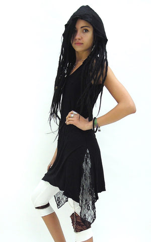 Pixie Hooded Dress with lace pleats