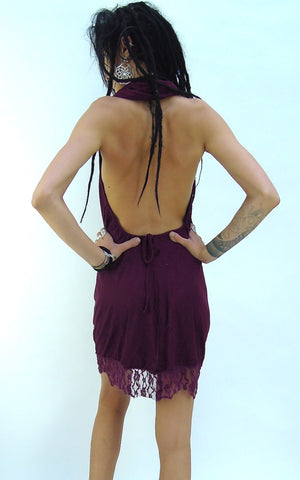Lace hemmed short backless Dress.