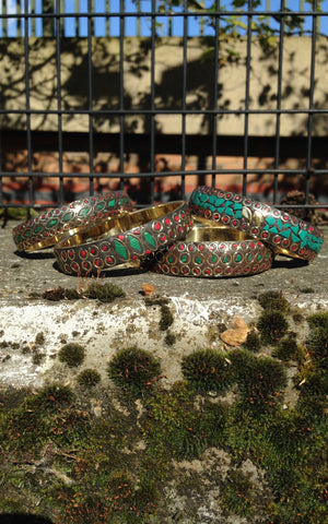 Brass inlaid stone bangles (small)