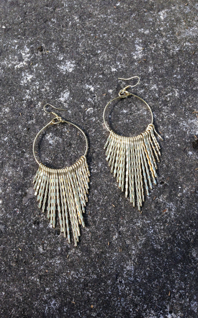 Brass Hammered Earrings