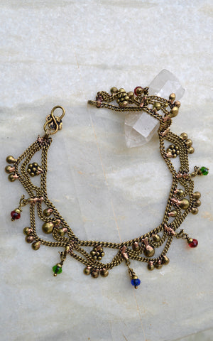 Gypsy Brass and bead Anklets