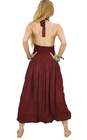 Balloon Dress, long Maxi Halterneck dress with Karma pockets