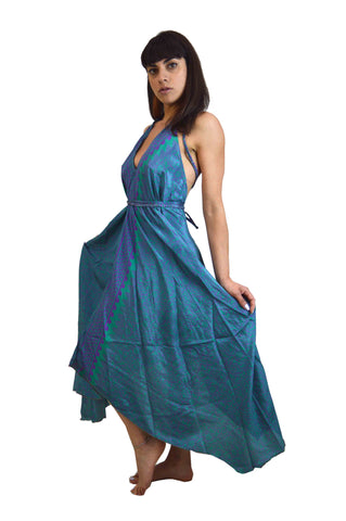 Long Silk Sequin Beach Dress