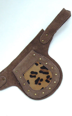Suede Studded Pocket Belt