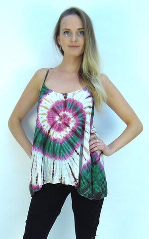 Tie Dye, Spiral, Camisole, lose Fit Vest top.