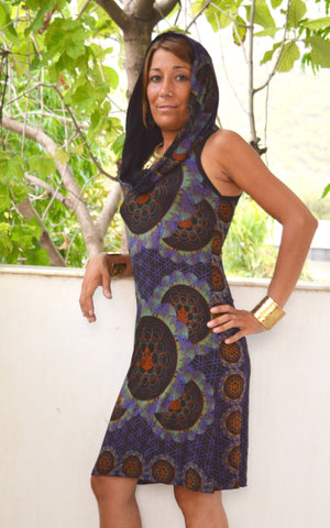 Sleeveless Afro Print Hooded dress