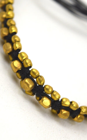 Brass  and bead Tie up Anklets
