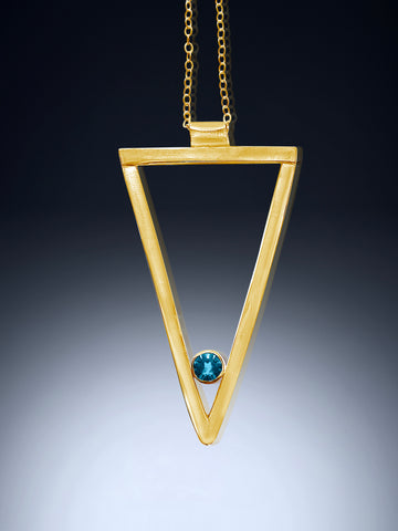 Yellow gold long triangle garnet necklace