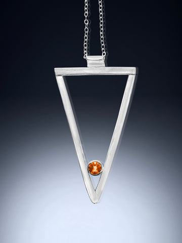 sterling silver long triangle necklace with citrine