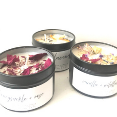 scented candle with fresh flowers or fruit