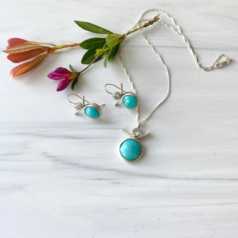 Sterling silver necklace, amazonite and white topaz