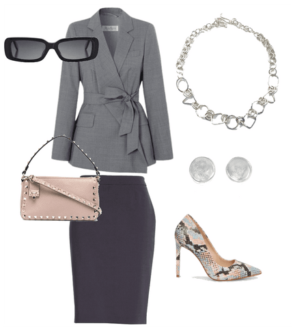Gray blazer with black skirt, sterling silver geometric necklace and stud earrings by Candace Stribling Jewelry