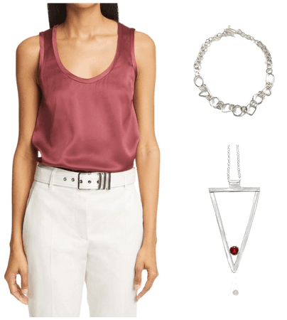 layering two necklaces -geometric necklace & triangle necklace