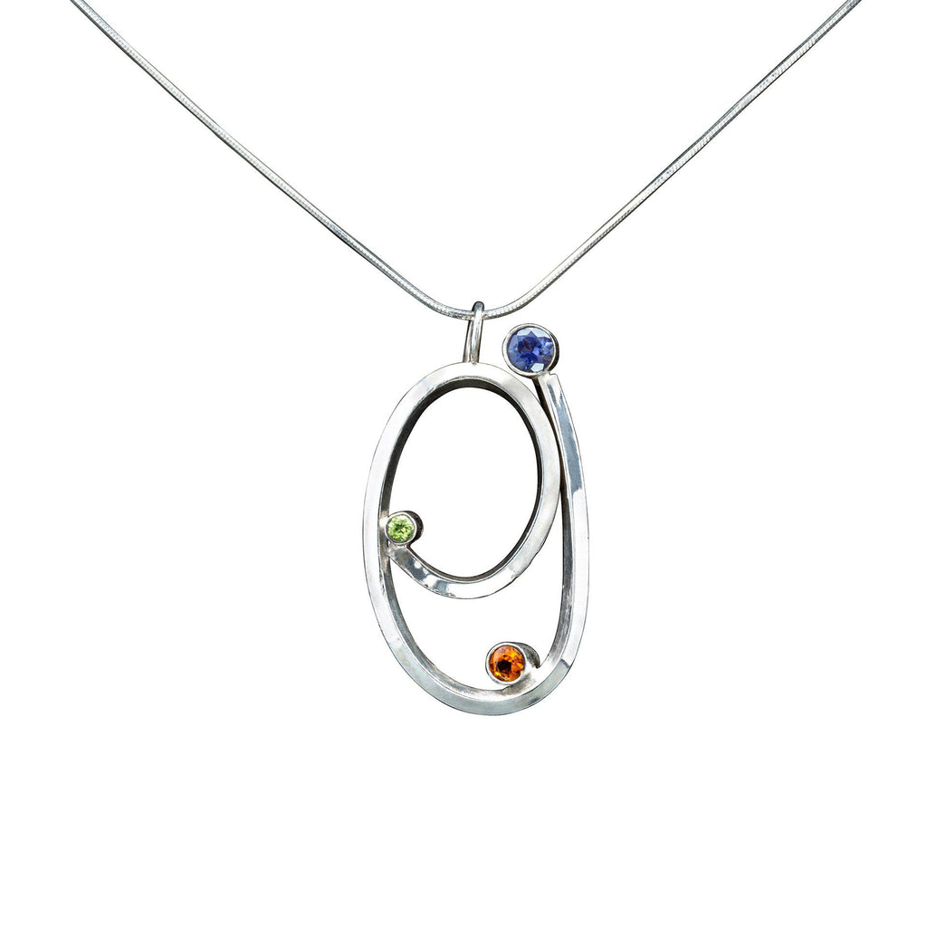 Fibonacci , golden ratio, sterling silver necklace, iolite, peridot, citrine