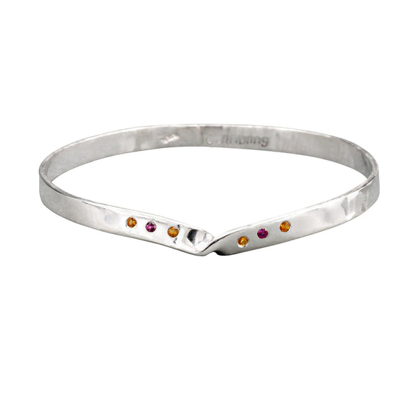 Sterling Silver Mobius Strip, Infinity Bangle Bracelet, Citrine, Rhodolite Garnet - Candace -Stribling- Jewelry