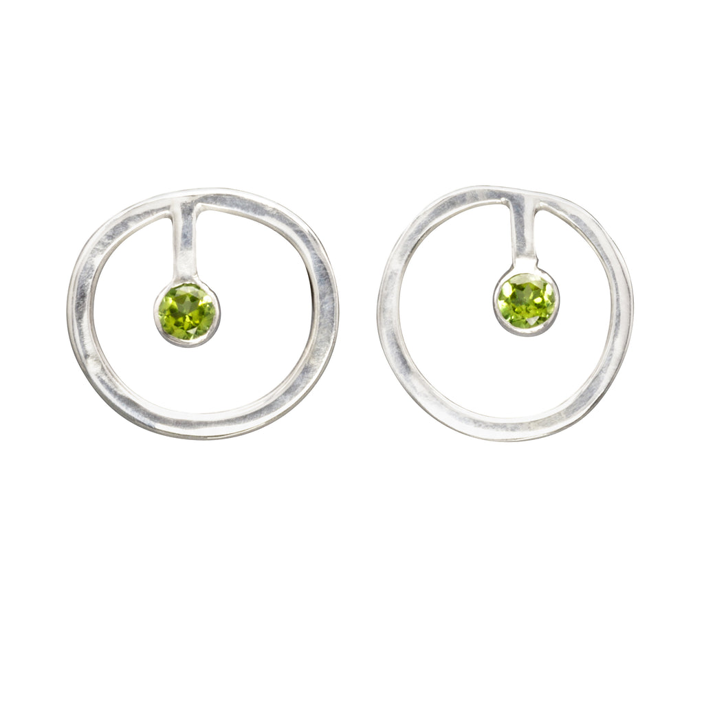 sterling silver circle earrings with peridot