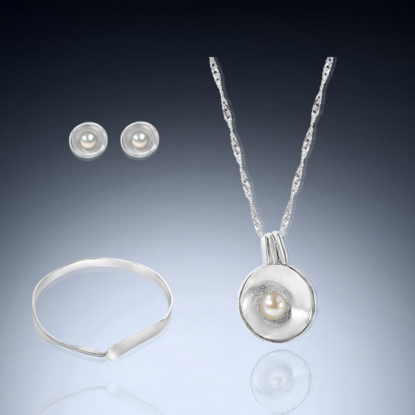 Disc Jewelry Trio with White Freshwater Pearl