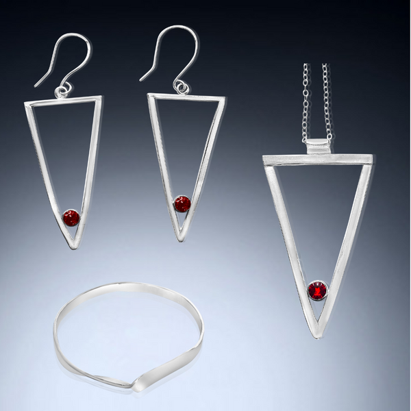Sterling Silver Long Triangle Trio