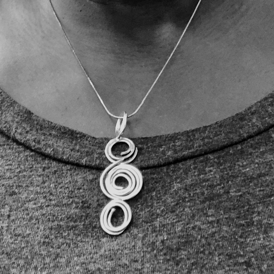 3 Spiral Sterling Silver Necklace with 18 inch Snake Chain, Abstract, Contemporary Pendant - Candace -Stribling- Jewelry
