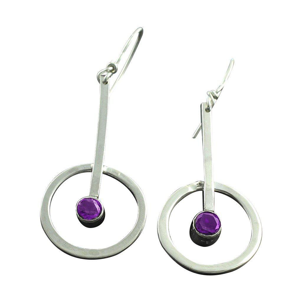 Sterling Silver Circle Dangle Earrings - Candace -Stribling- Jewelry