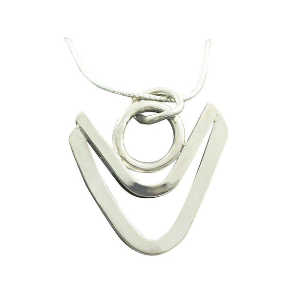 Sterling Silver Double V Necklace