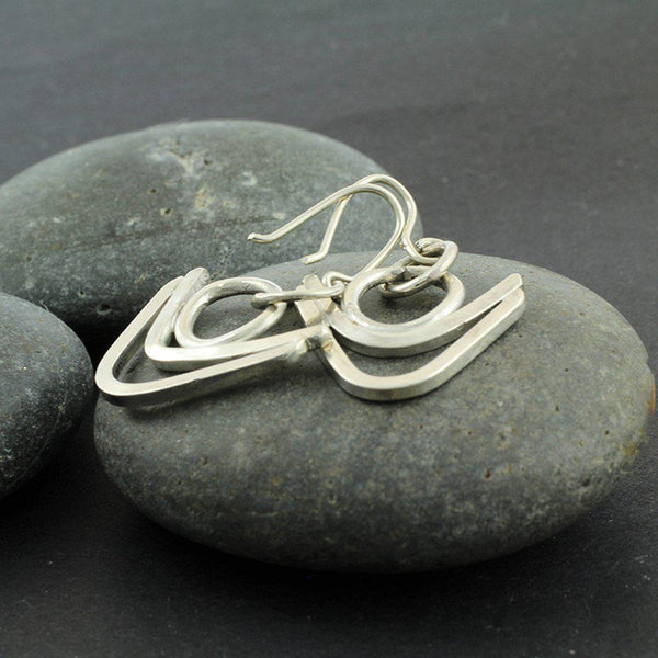 Sterling Silver Double V Earrings