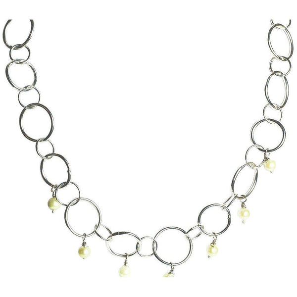 Chain Link Sterling Silver Necklace, Statement,  Freshwater Pearls, 20 inch - Candace -Stribling- Jewelry