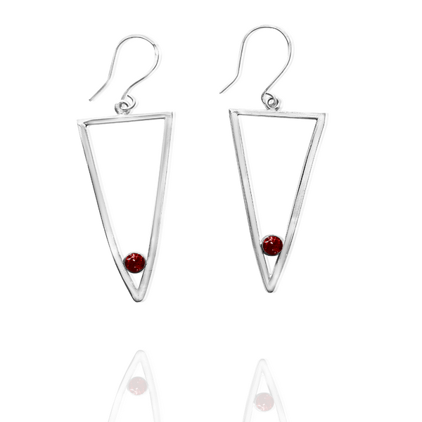 Sterling Silver Long Triangle Dangle Earrings - Candace -Stribling- Jewelry