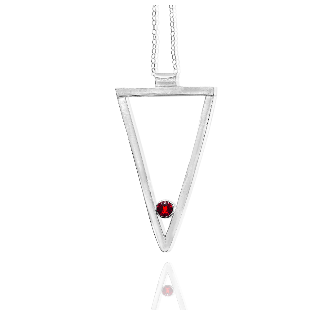 Long Triangle Necklace-Sterling Silver - Garnet -Candace -Stribling- Jewelry