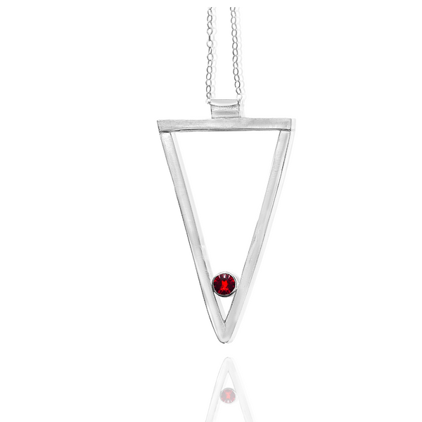 Long Triangle Necklace-Sterling Silver - Candace -Stribling- Jewelry