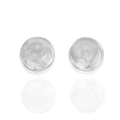 Concave Stud Earrings, Brushed Finish