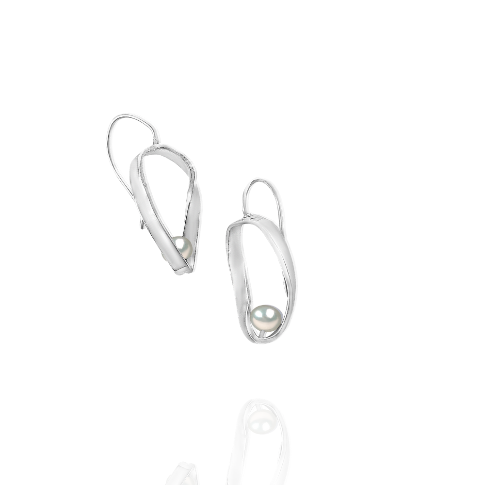 Mobius Dangle Earrings, Freshwater Pearls - Candace -Stribling- Jewelry