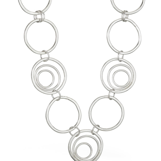 sterling silver concentric circles interlocked statement piece