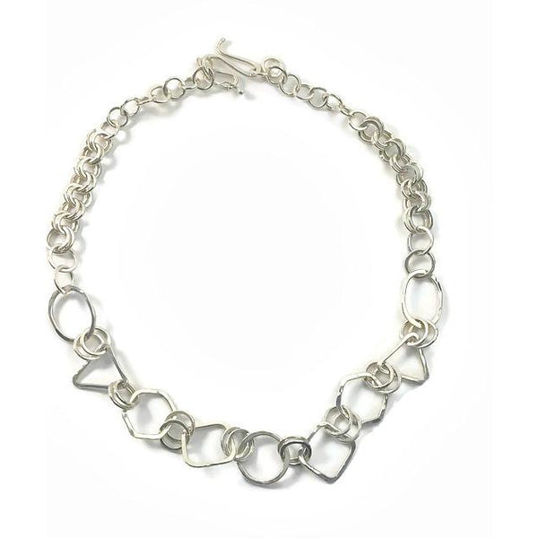 Sterling Silver Geometric Statement Chain Link Necklace - Candace -Stribling- Jewelry