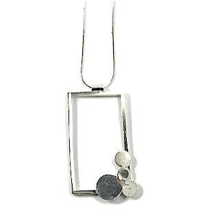 Sterling Silver Large Rectangle Necklace,, 4 Circles on Diagonal