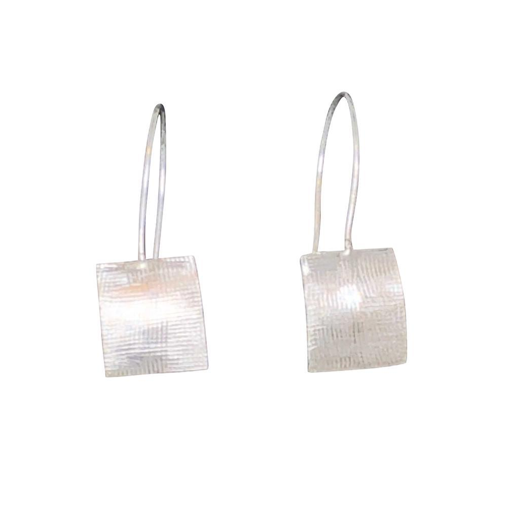 Sterling Silver Domed Square Drop Earrings, Linen Texture - Candace -Stribling- Jewelry