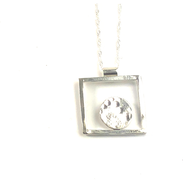 STERLING SILVER SQUARE NECKLACE, HAMMERED FINISH CENTERED DISC
