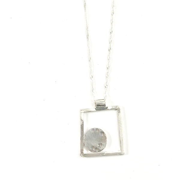 STERLING SILVER SQUARE NECKLACE, HAMMERED FINISH OFF-CENTERED DISC