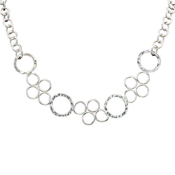 Sterling Silver Circle Statement Necklace