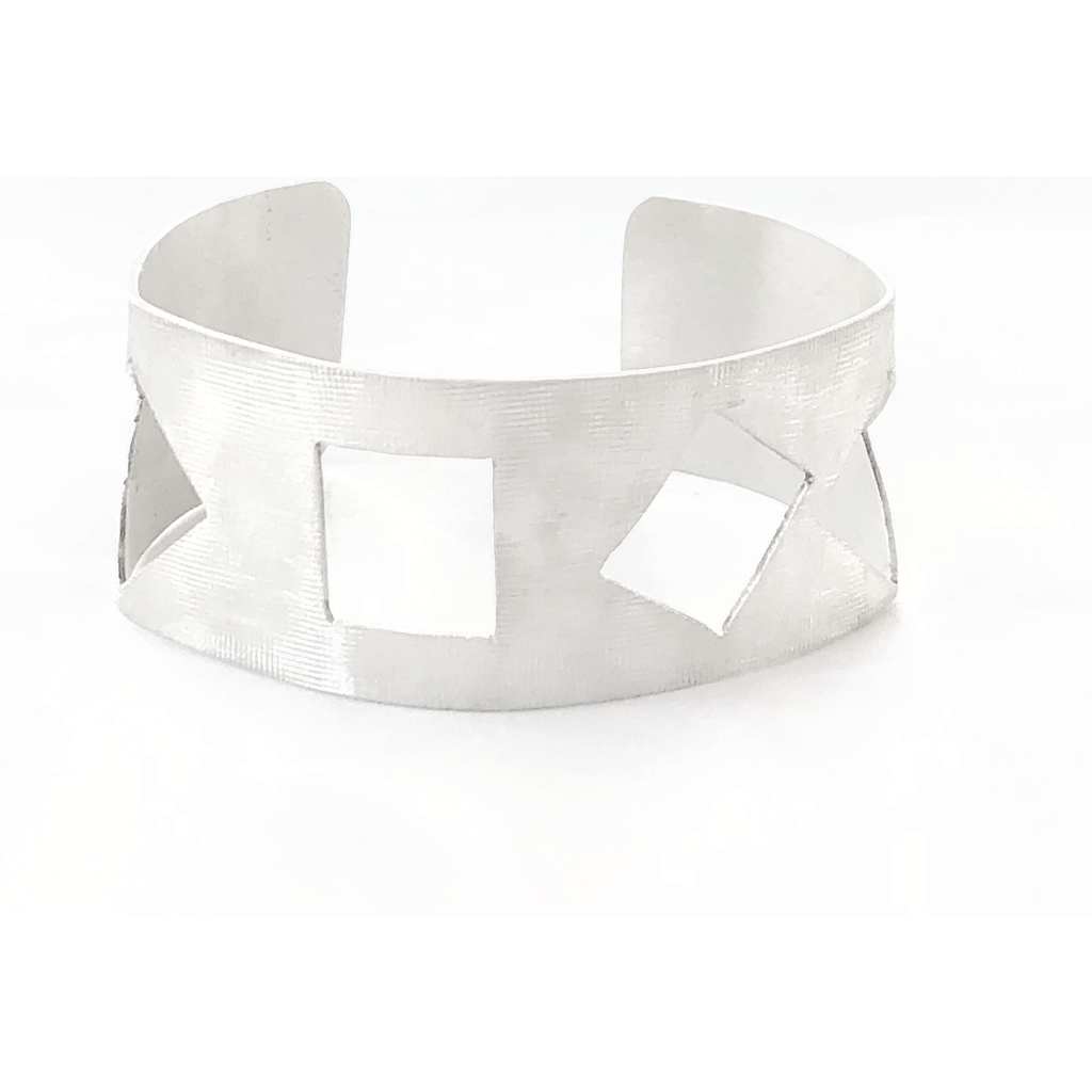Sterling Silver Geometric Triangle & Square Cuff Bracelet