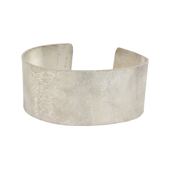 sterling silver cuff bracelet with linen and pebble texture