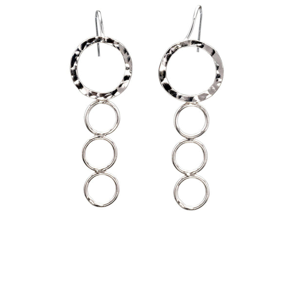Sterling Silver Dangle Earrings, Geometric, Descending Circles - Candace -Stribling- Jewelry