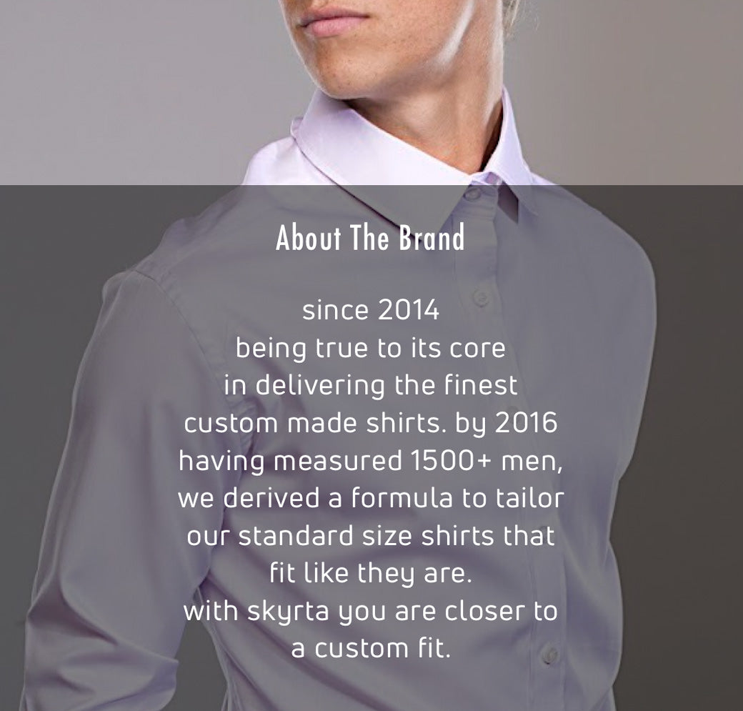Story of our shirts in standard sizes