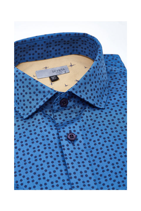 Aarpo geometric shirt for men-printed mens shirt-Blue dotted casual mens shirt-Skyrta